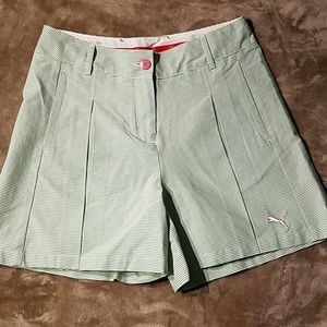 New Puma Sport Lifestyle Stripe Pleat Shorts Sz 4